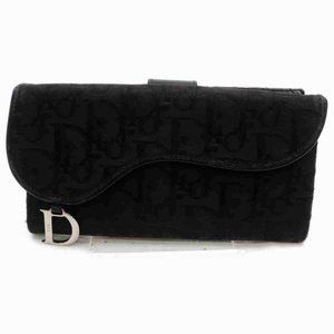 DiorMonogram Trotter Saddle Long Flap Wallet Black